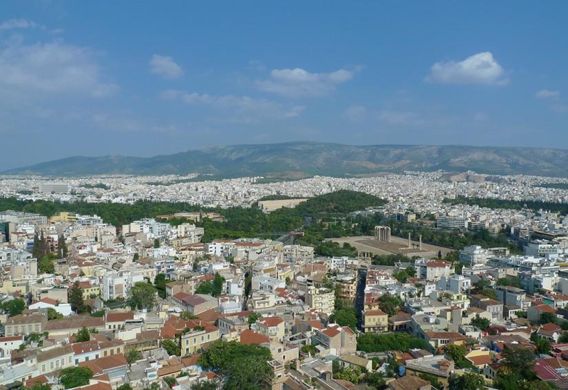 ATHENES - VUE PANORAMIQUE SUR LE STADE OLYMPIQUE ET LE TEMPLE