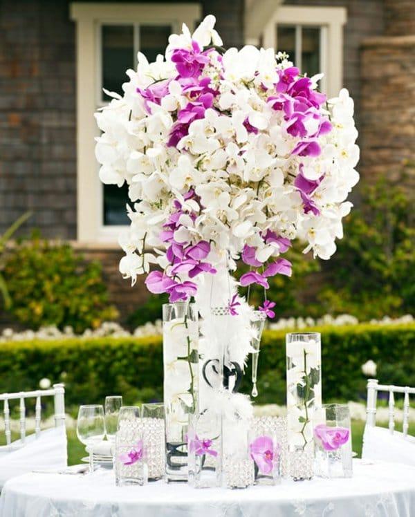 décoration florale blanc violet